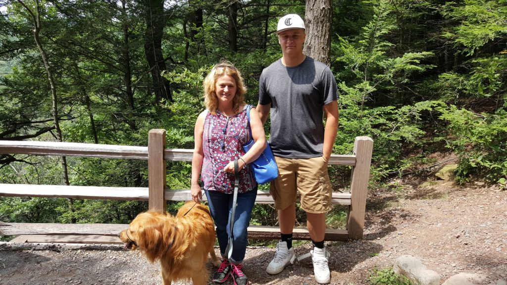 Hiking with our dog Buddy to the observation platform at Kaaterskill Falls Catskills