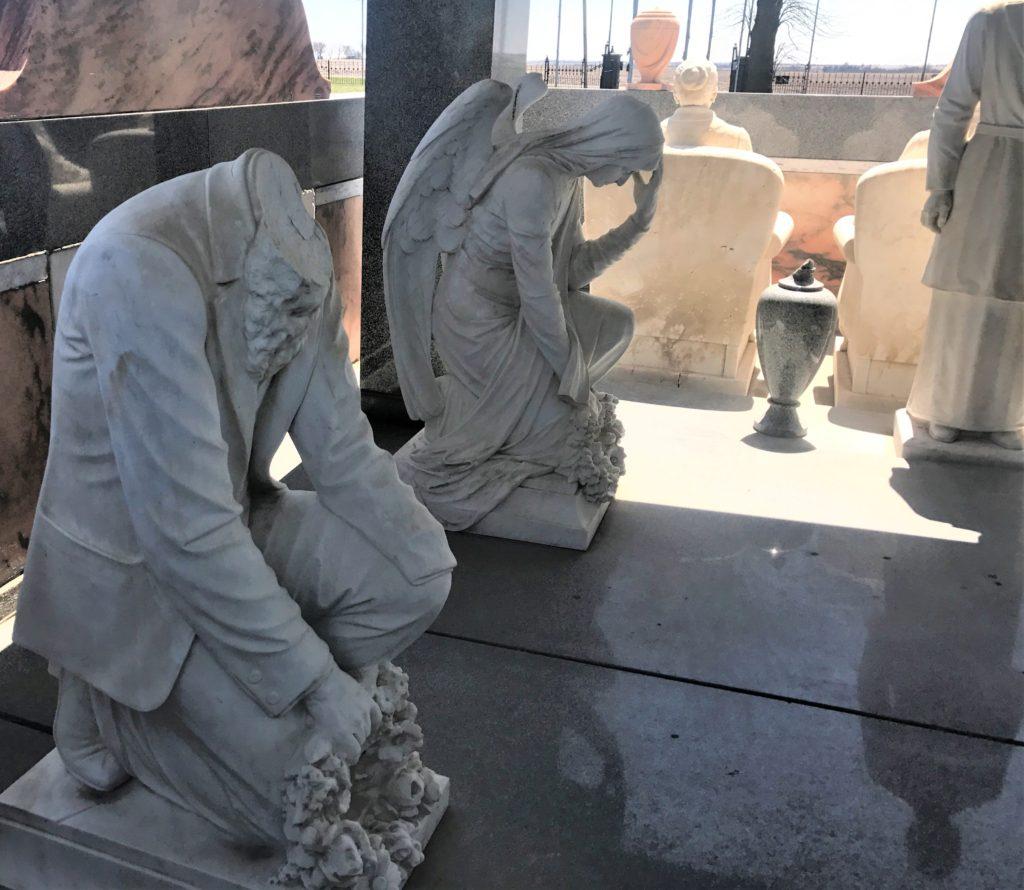 John and Sarah Davis overlooking their grave