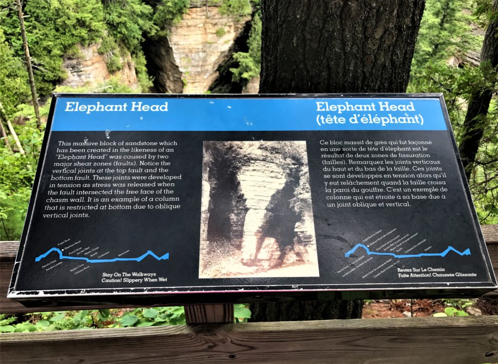 Elephant Head Signage at Ausable Chasm