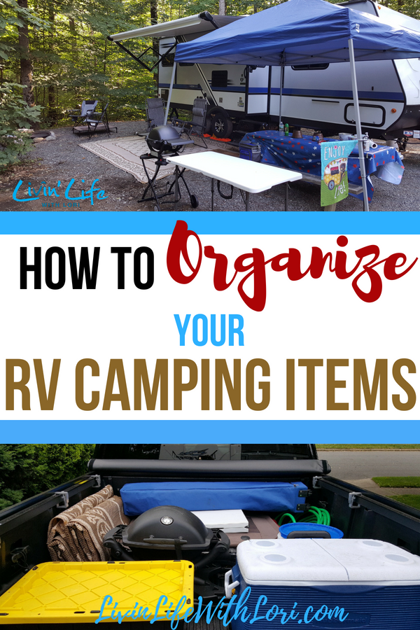 Here's a great way to Organize Your RV Camping Items in the Back of the truck when pulling your travel trailer. #RV #traveltrailer #RVtravel