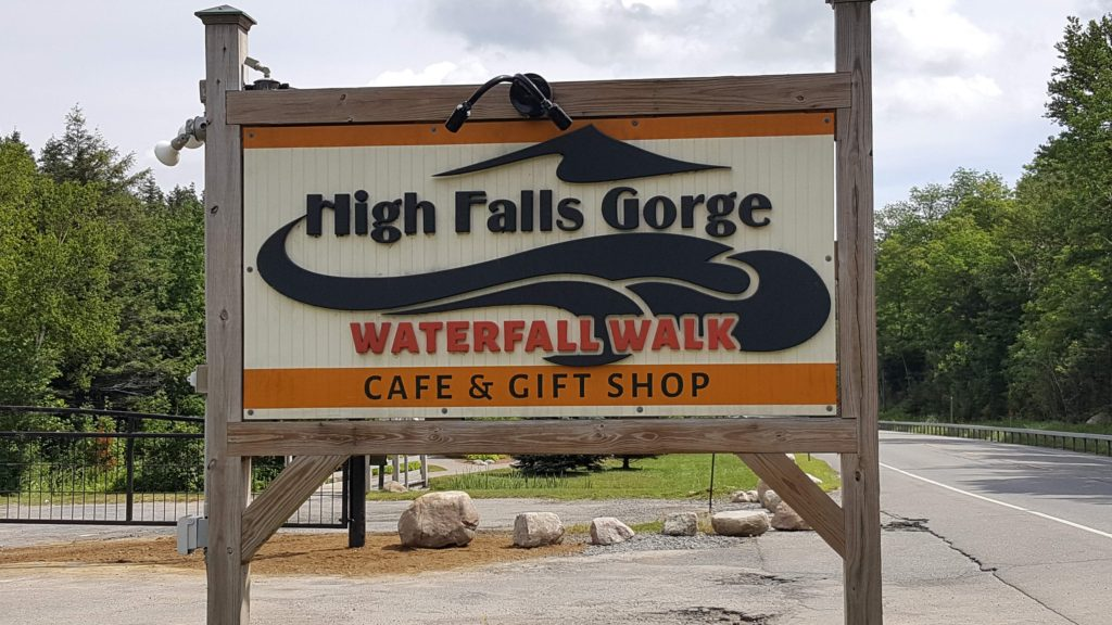Sign To Entrance at High Falls Gorge