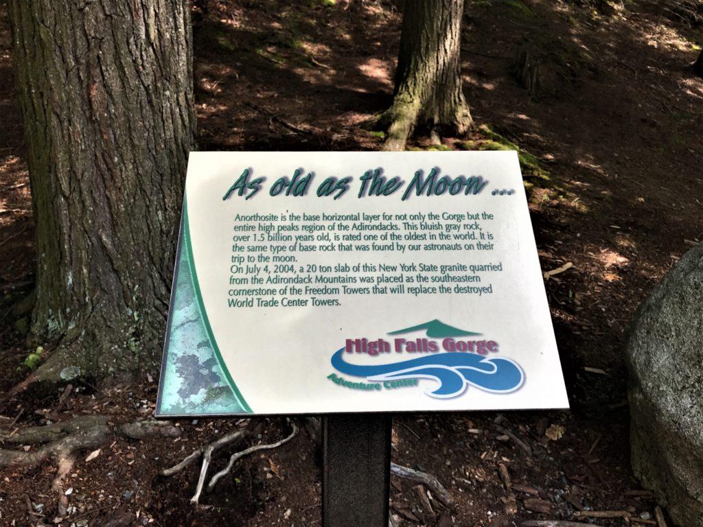 Signage along High Falls Gorge
