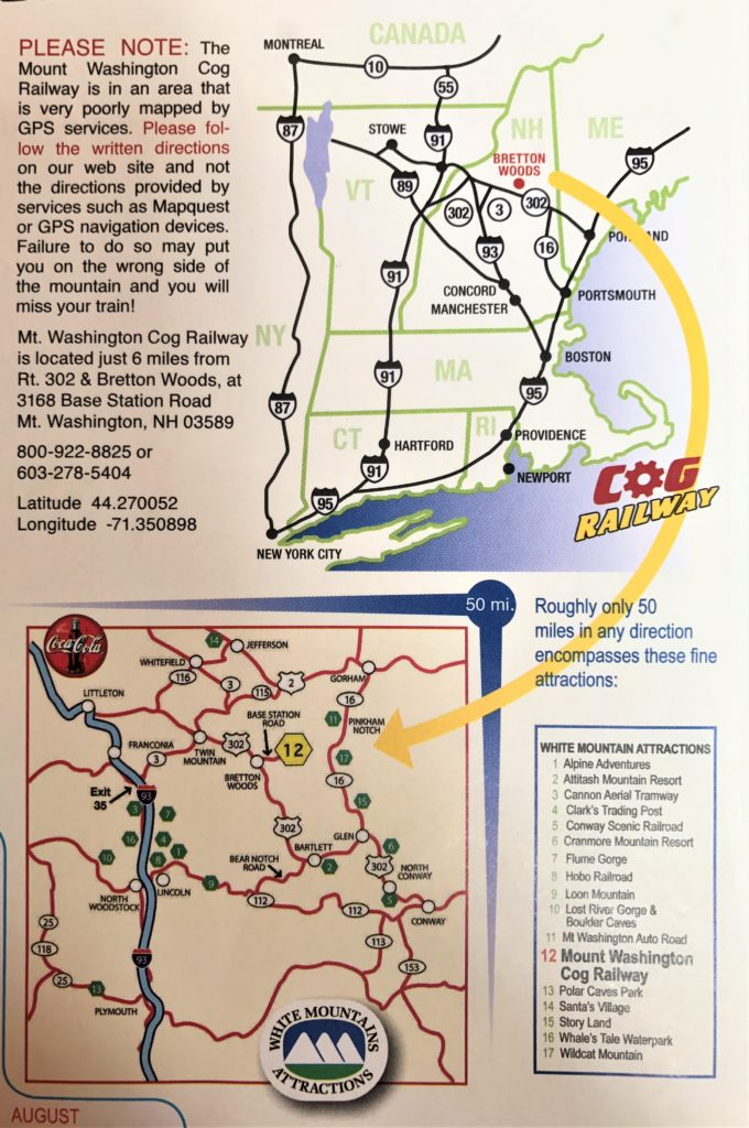 Cog Railway Location Map