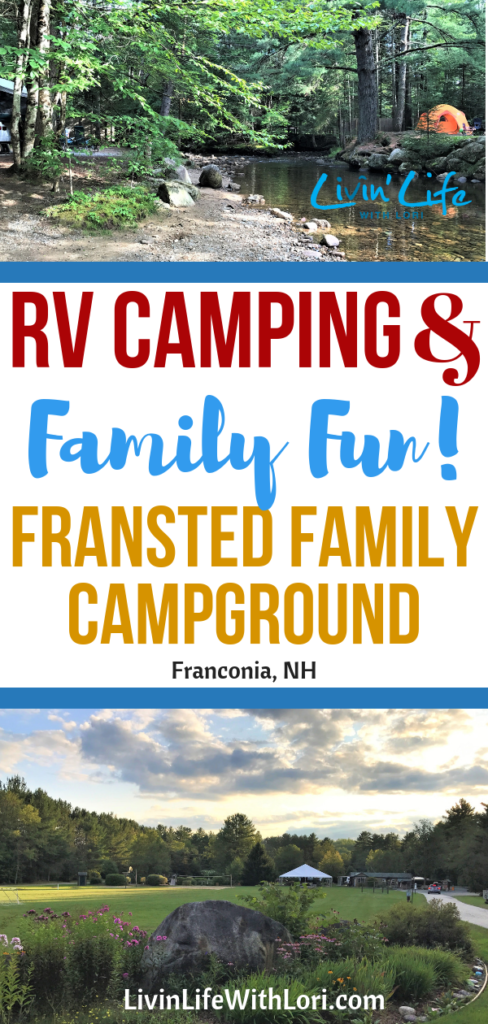 Fransted Family Campground is one of the Best RV Campgrounds in the the White Mountains of New Hampshire! Located in Franconia, NH, this family RV campground has something for all ages. You will love RV camping in the White Mountains at Fransted Family Campground! #campgroundswhitemountains #newhampshirecampgrounds #familycampground #franstedfamilycampground
