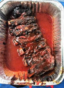 BBQ Spare Ribs in tin pans used for RV camping