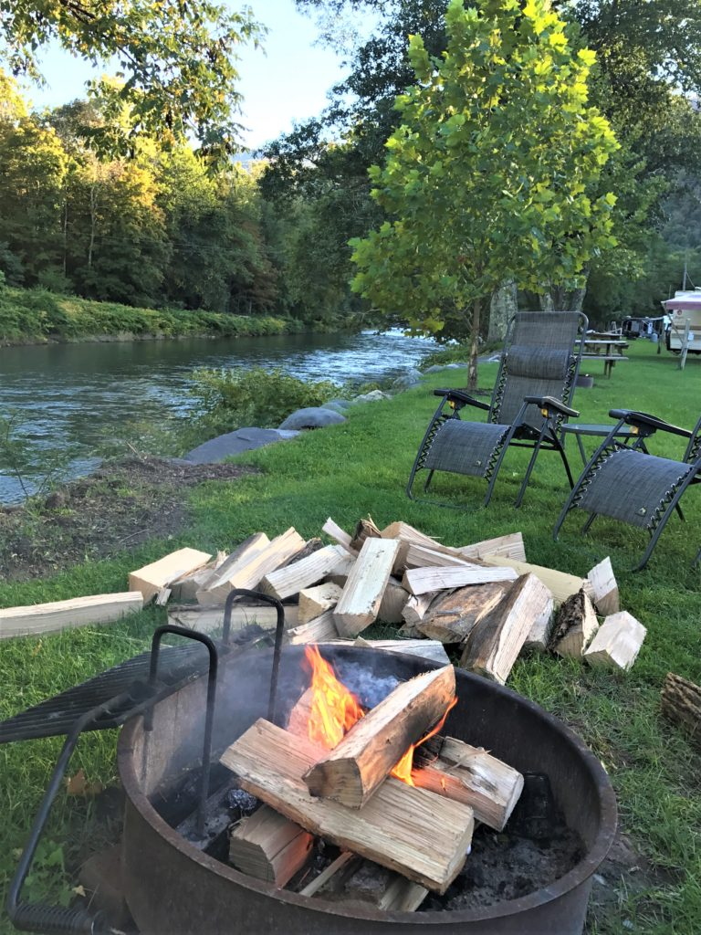 RV Camping By The Fire