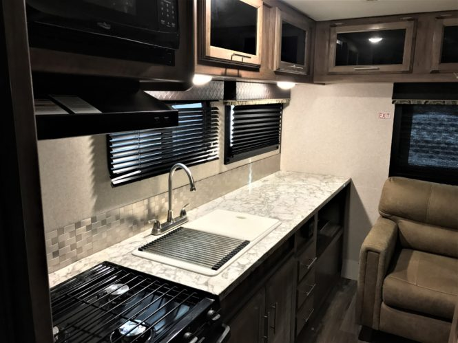 Photo of our 23 ft. Jayco travel trailer kitchen