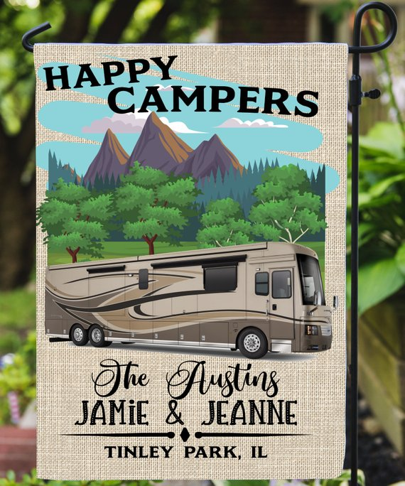 Personalized Happy Camper Garden Flag