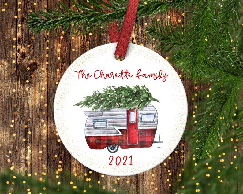 Camping trailer personalize ornament