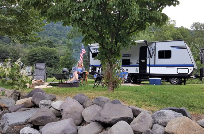 camper trailer campfire
