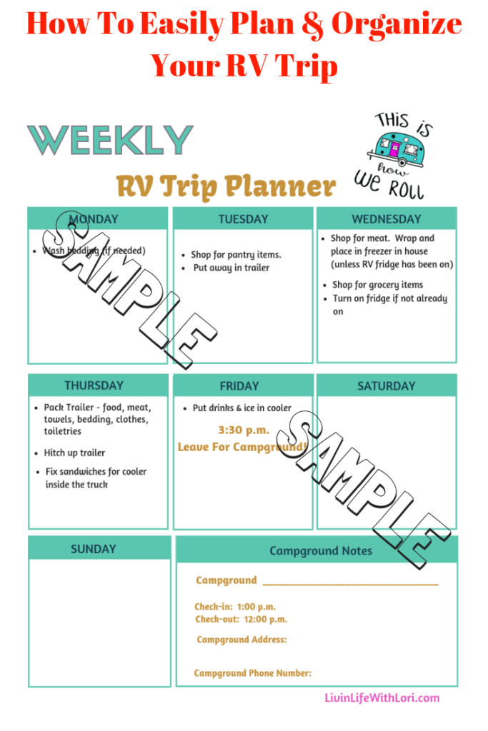 Weekly Plan - How To Easily Plan and Organize Your RV Trip Sample