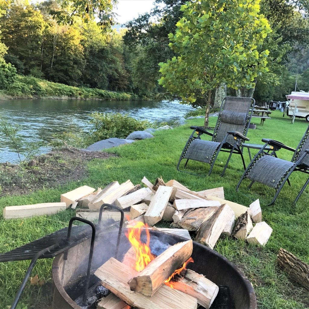 Relaxing at the firepit at the campground