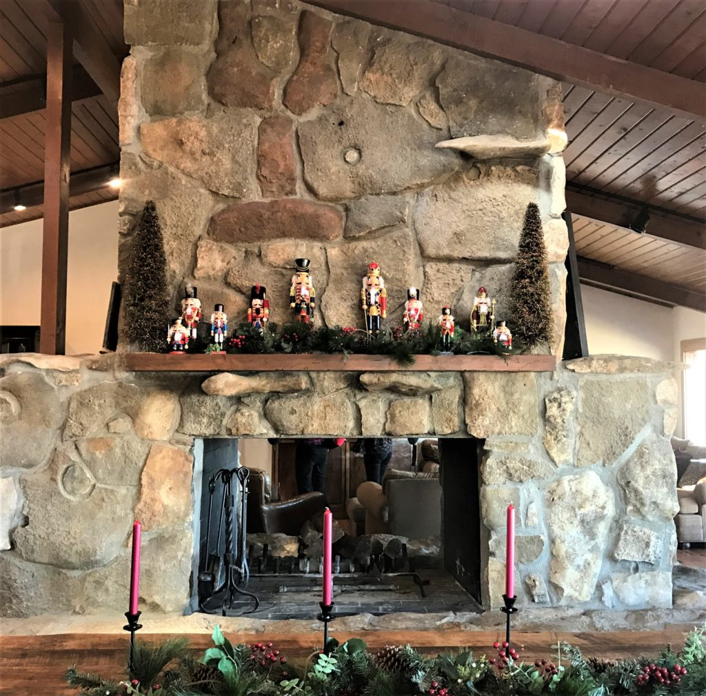 Fireplace at the Pioneer Woman Lodge