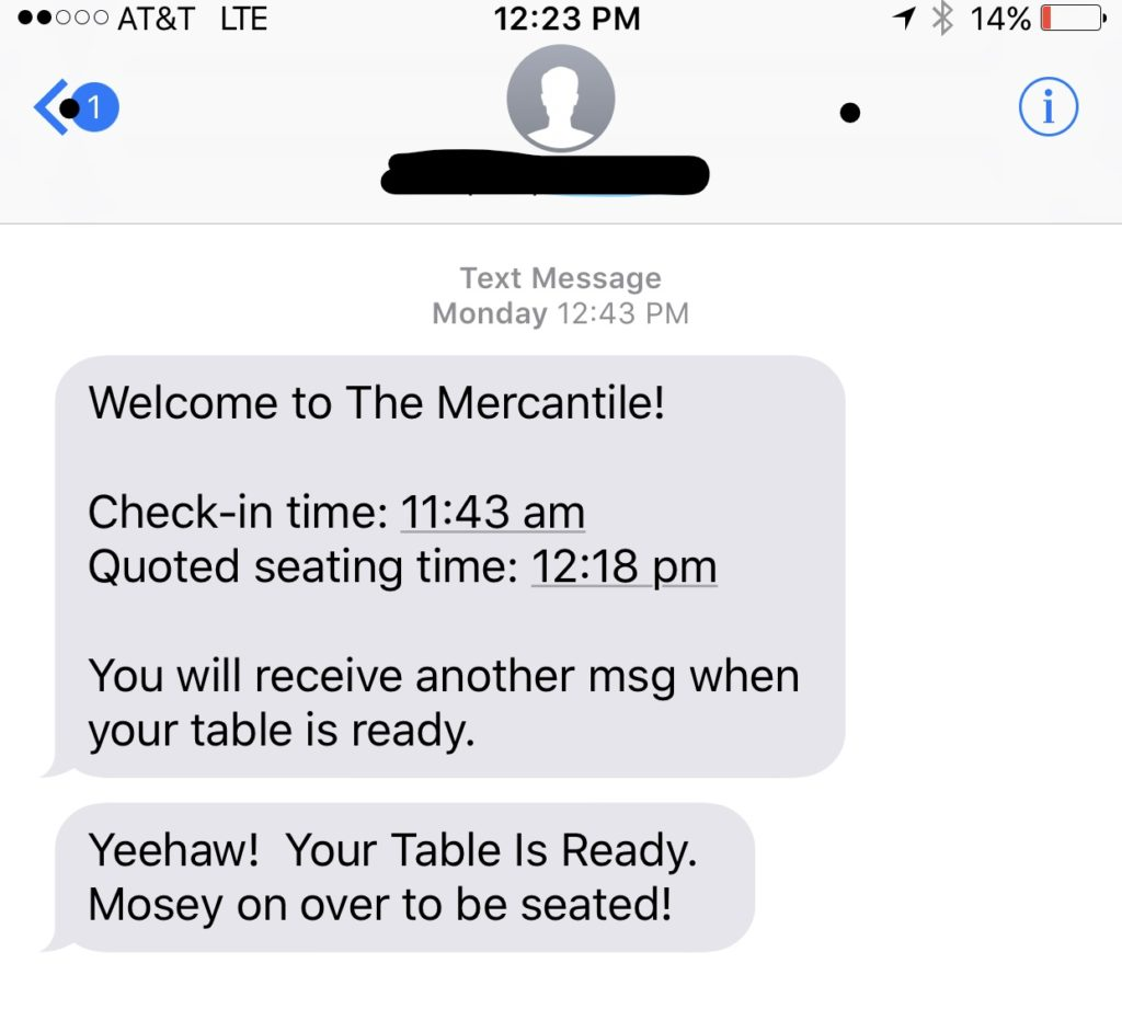 Pioneer Woman Mercantile Text Message