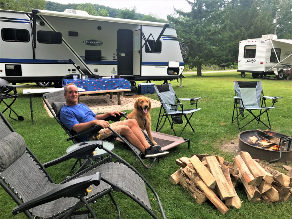 Tom and Buddy our Golden Retriever camping in the Catskills