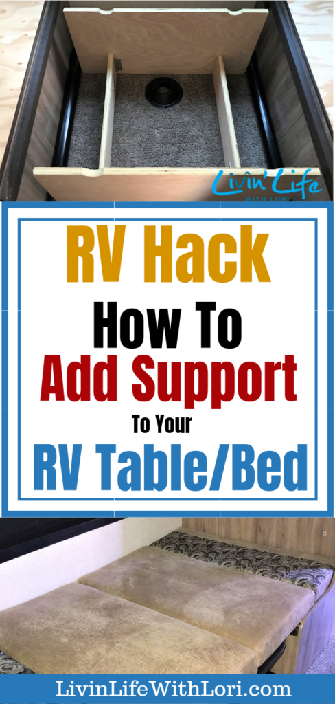Here's our RV Hack to add support to your RV Table/Bed. The RV Dining Table is only made out of press board. See how we built a frame to support the RV Table/Bed! #RV #RVing #RVhack #RVcamping