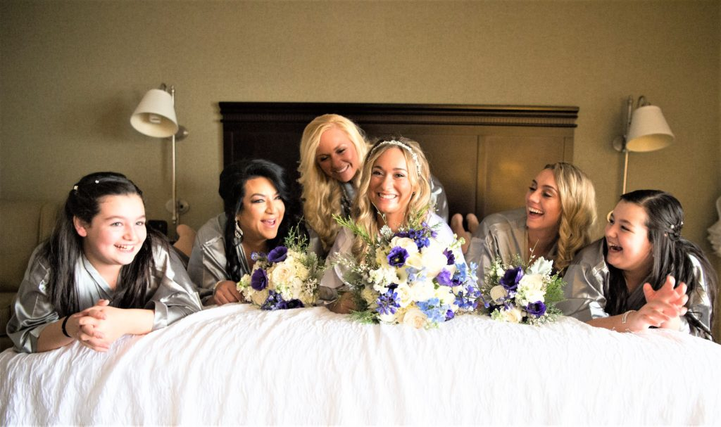 Bridal Party Wearing Monogramed Robes