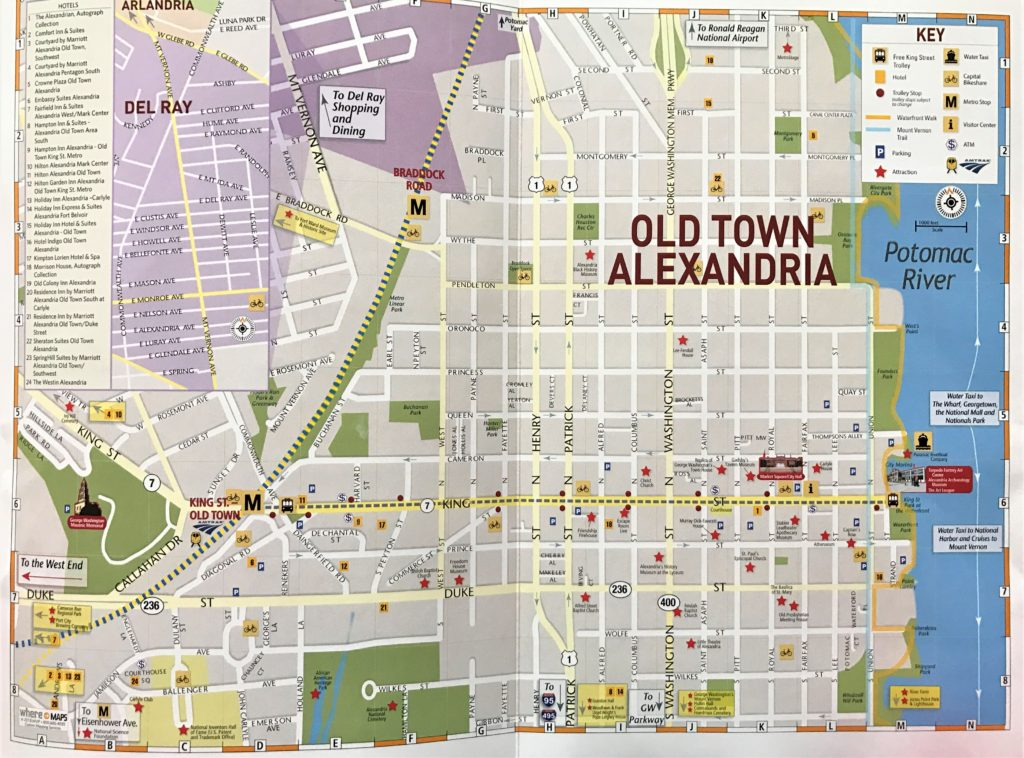Map of Downtown Old Town Alexandria, Virginia
