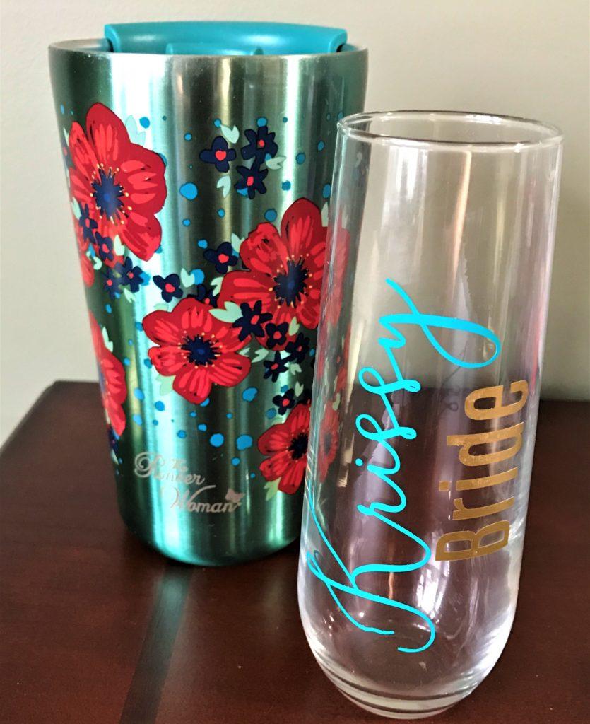 Personalized stemless wine glass and travel mug