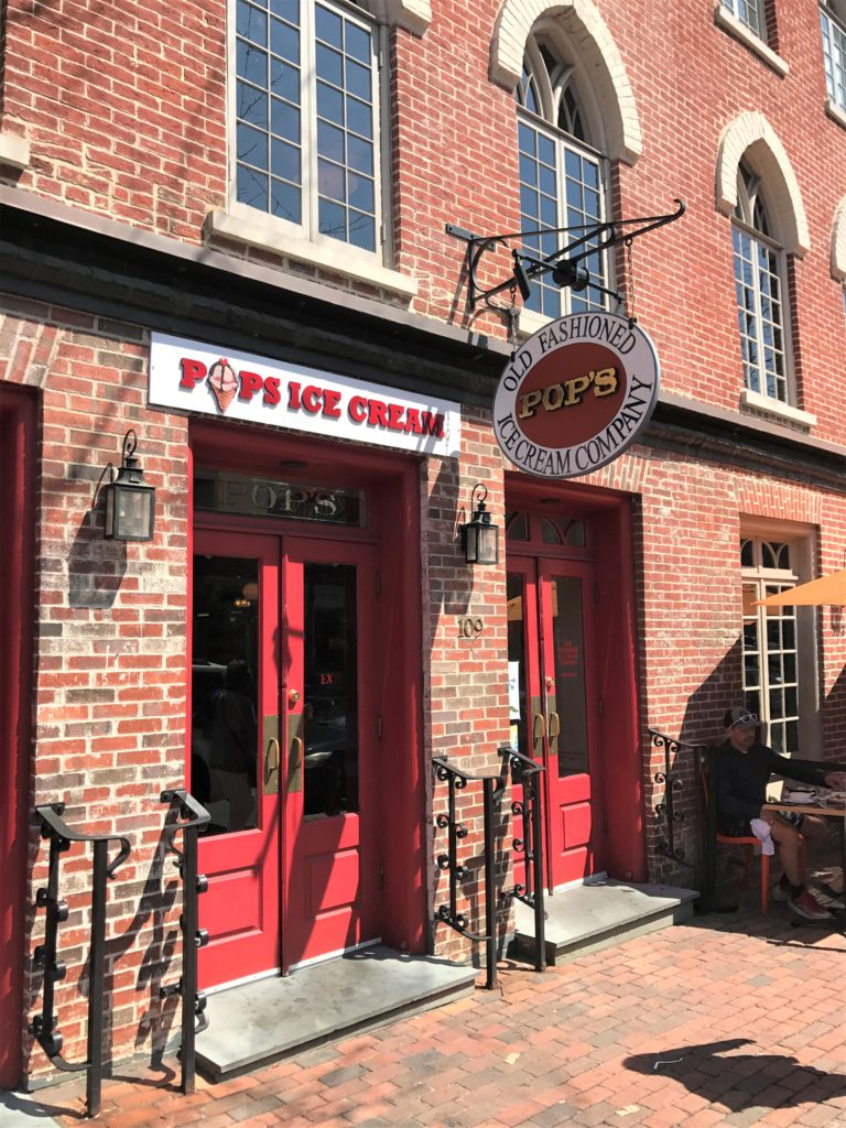 Pops Ice Cream Shop in Old Town Alexandria