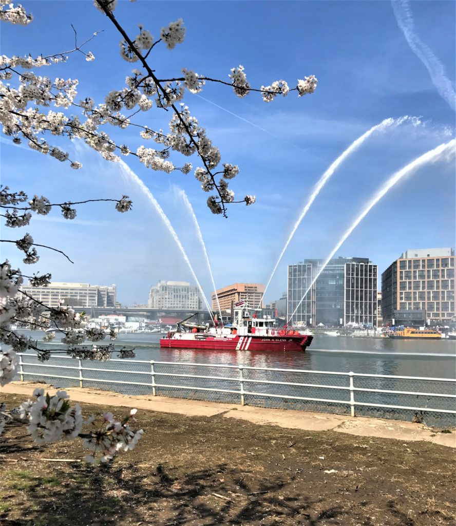 Watching the Fire Boat in the Potomac spray water