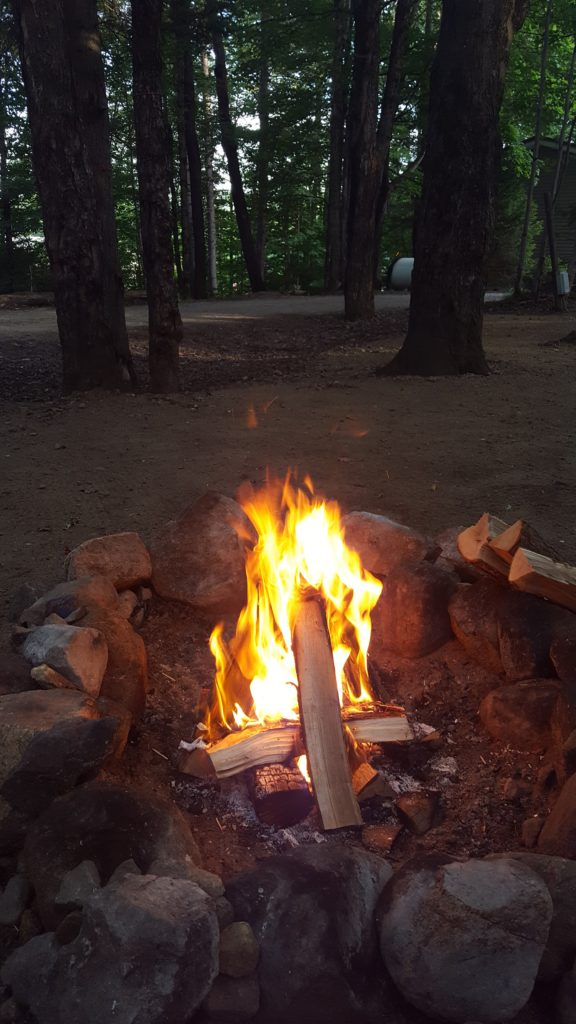 campfire at Old Forge Camping Resort