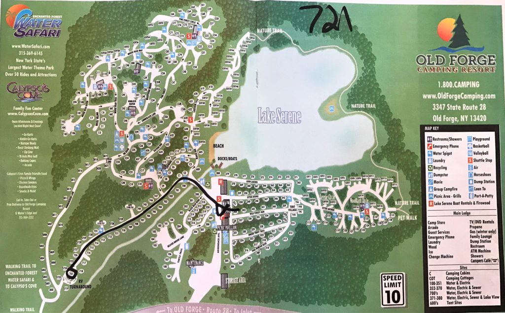 Old Forge Camping Resort Campground map