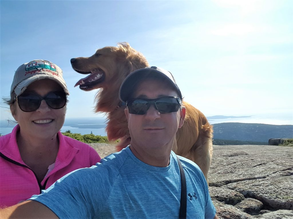 Top of Cadillac Mountain with Buddy Golden Retriever