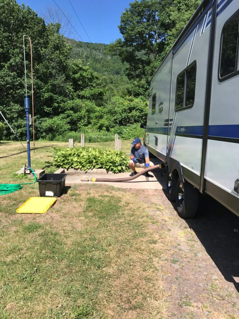 Emptying black tank at campground