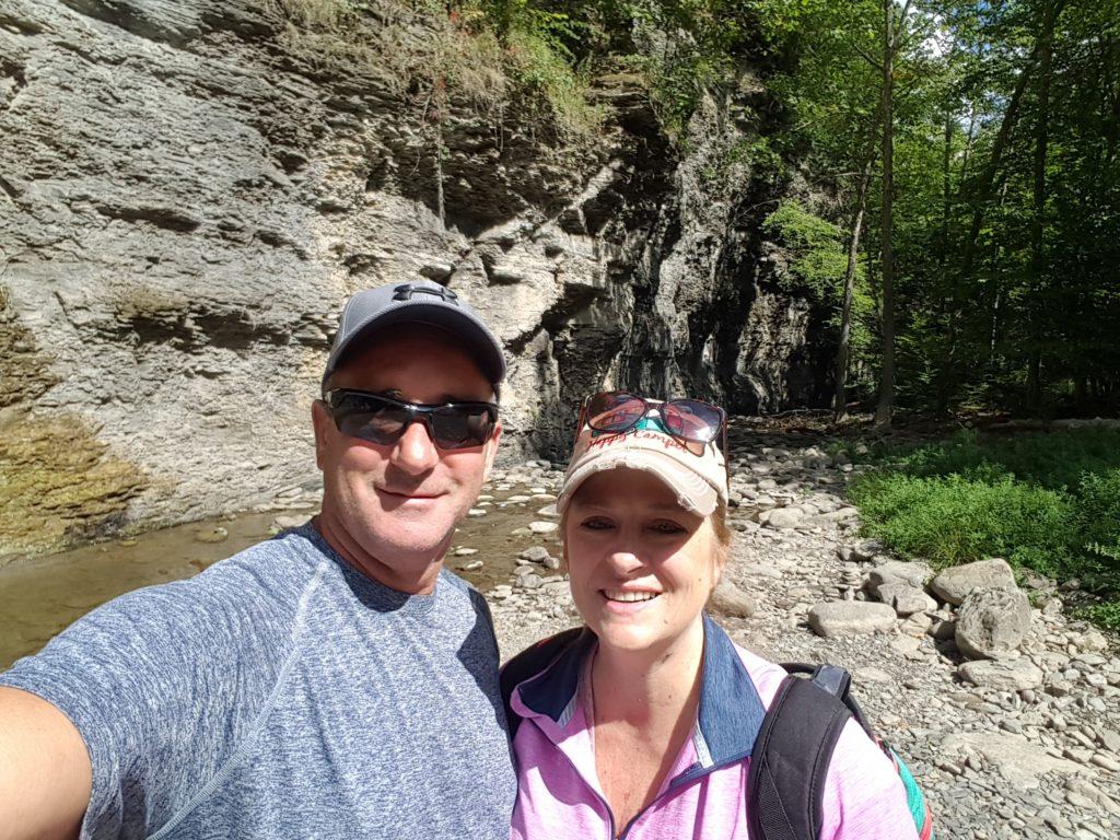 Enjoying the waterfall at Mine Kill State Park