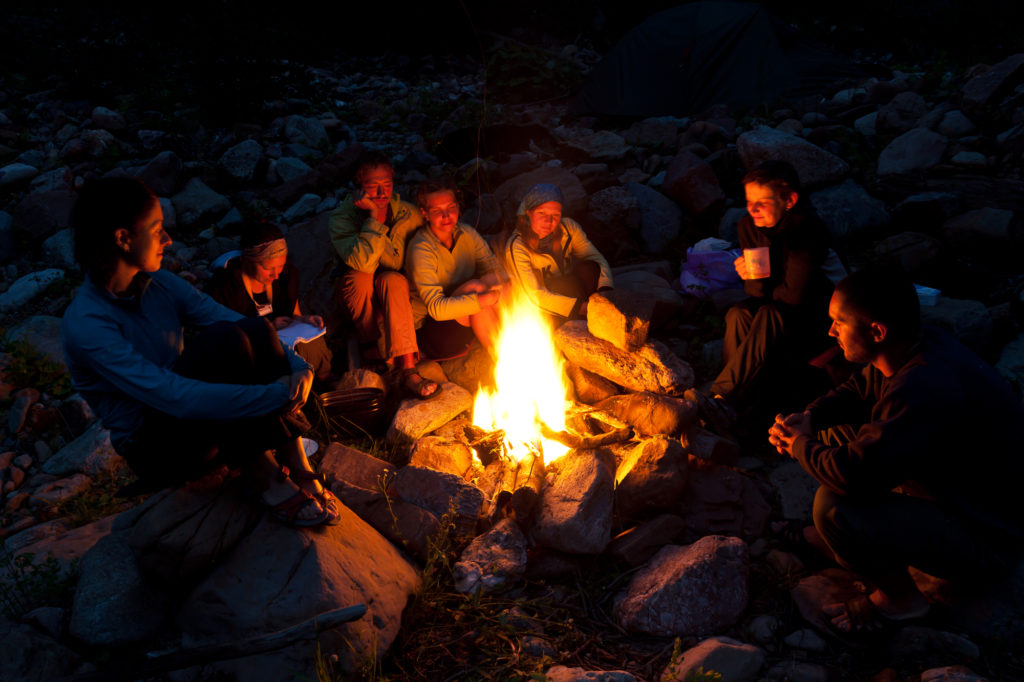 campers around the campfire