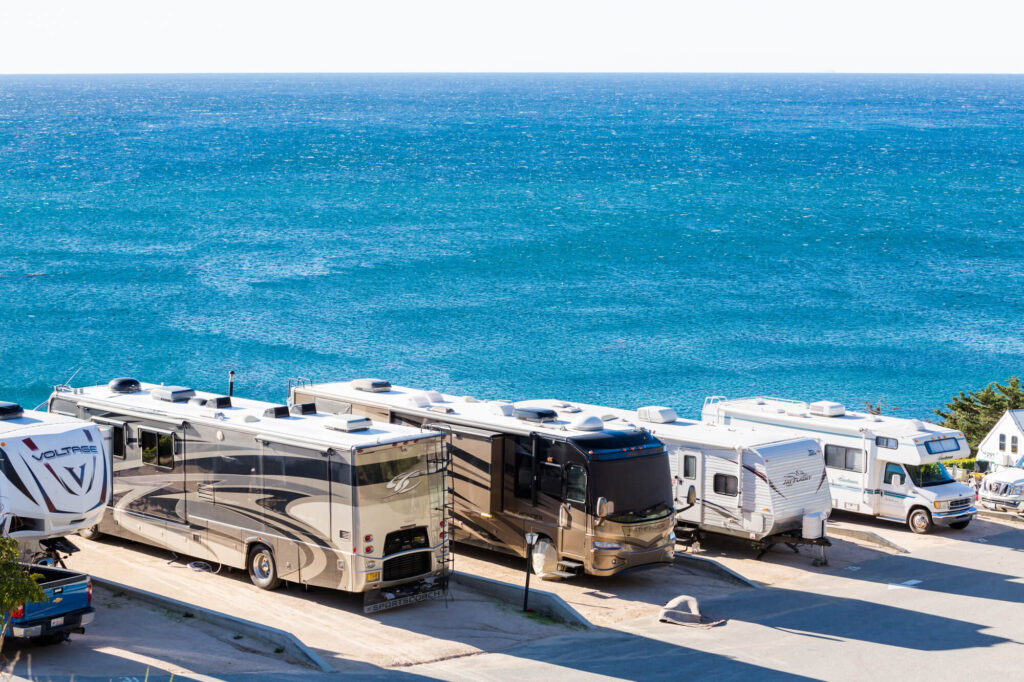 RV camping by the ocean