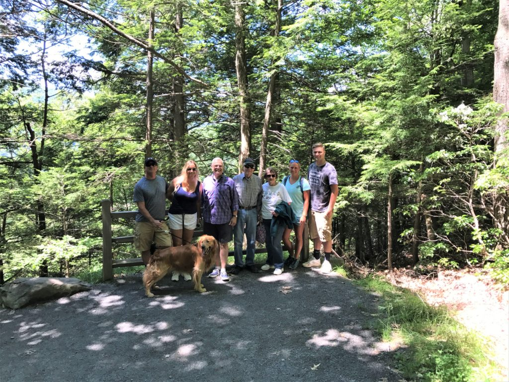 dogs on hike at Kaaterskill Falls New York