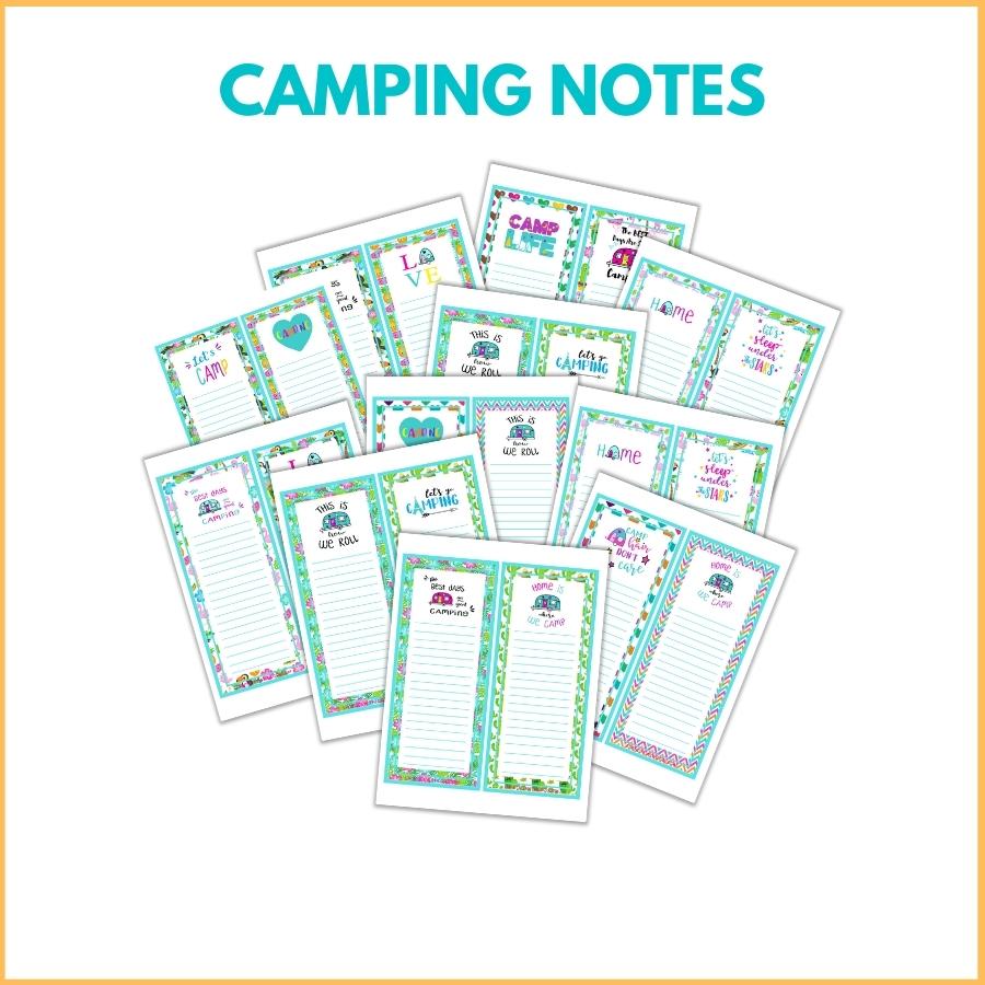 Camping Notes Printable