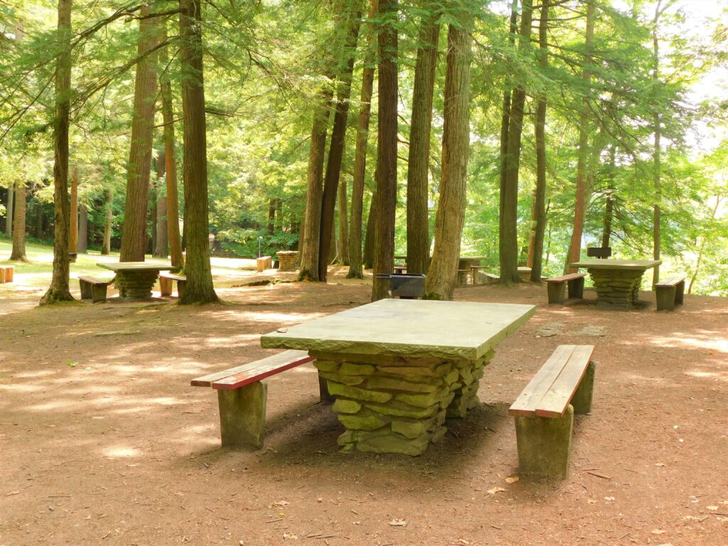 picnic tables in Letchworth State Park