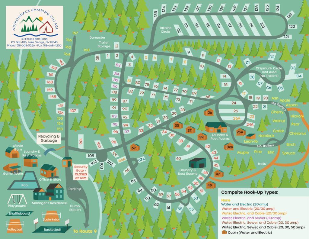 Adirondack Camping Village Campground Map