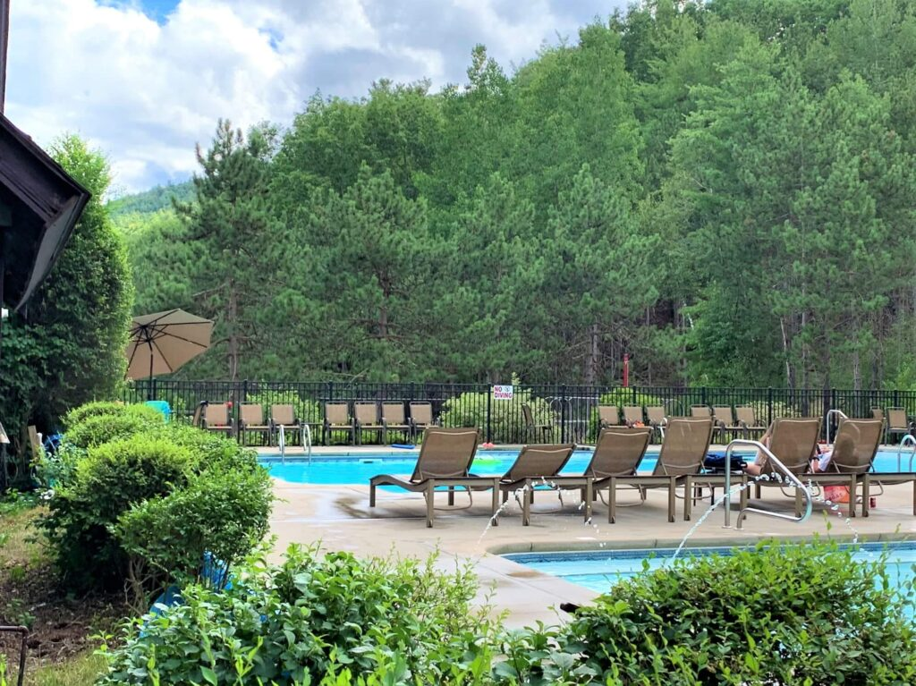 Heated pools at Adirondack Camping Village
