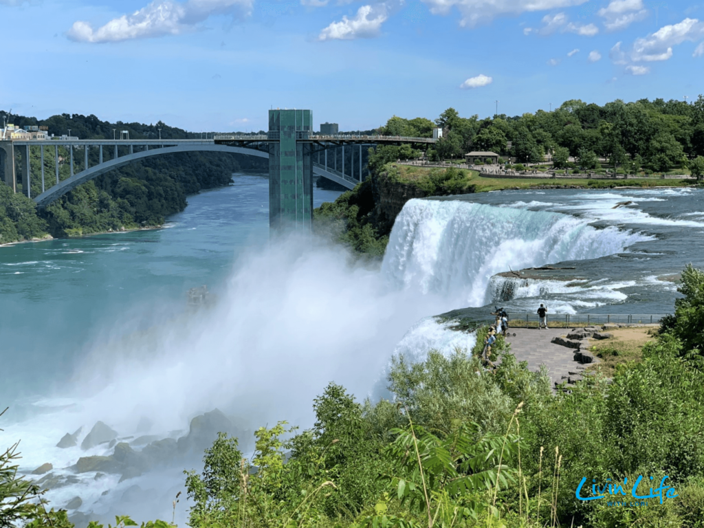 View of Rainbow Bridge and Niagara Falls