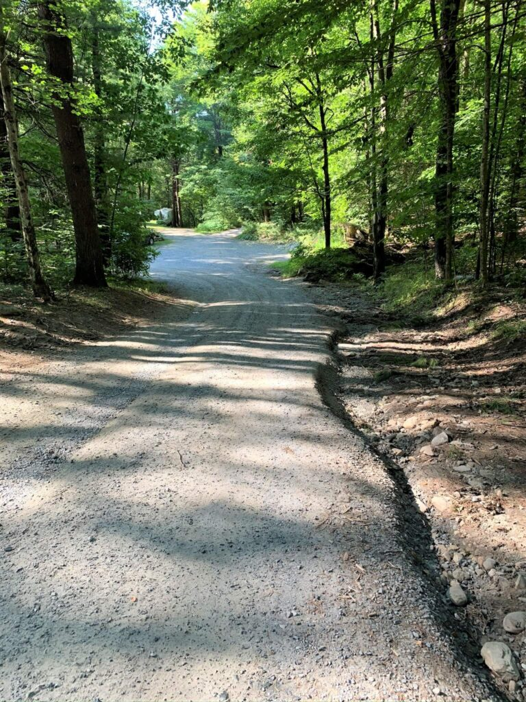 hill to rv campsites at Mt Greylock Campsite Park in MA