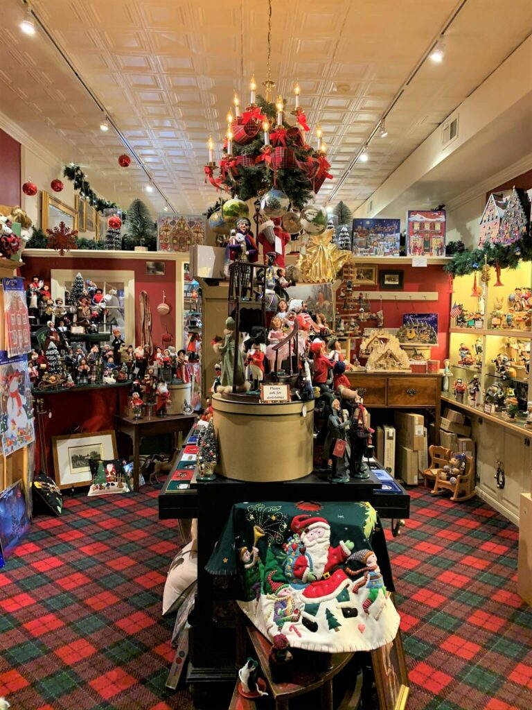 Beautiful Christmas items in the Christmas Sleigh Shop