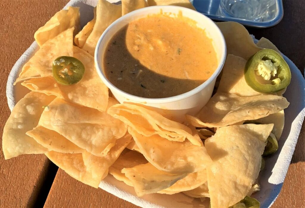 Chicken Queso and Chips Dirt Farm Brewing