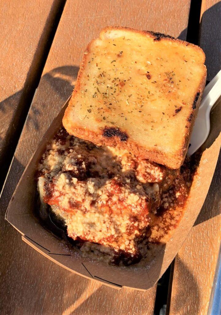 Garlic bread and meatballs at Dirt Farm Brewing