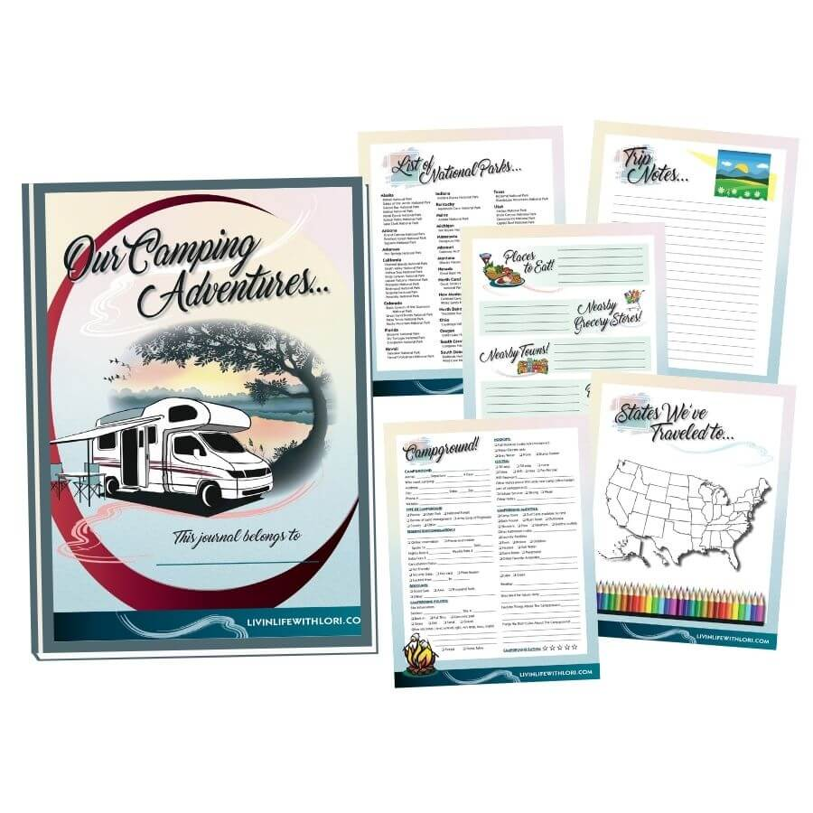 RV Camping Journal Cover and Logbook Pages