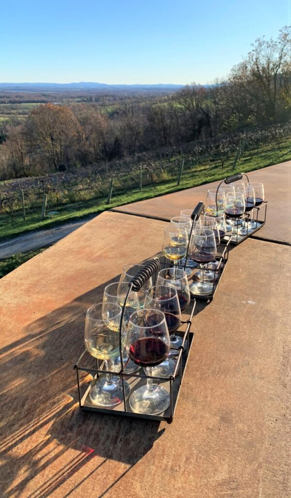 Wine tasting at Bluemont Vineyard