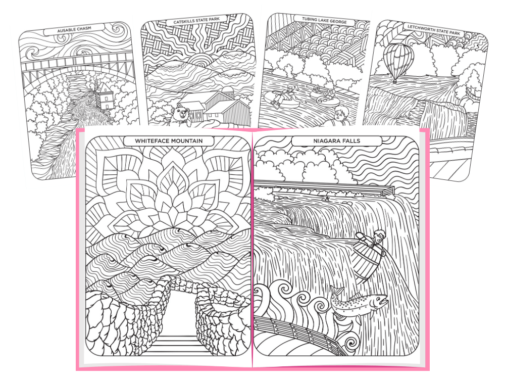 Sample of coloring pages of NY State Icons
