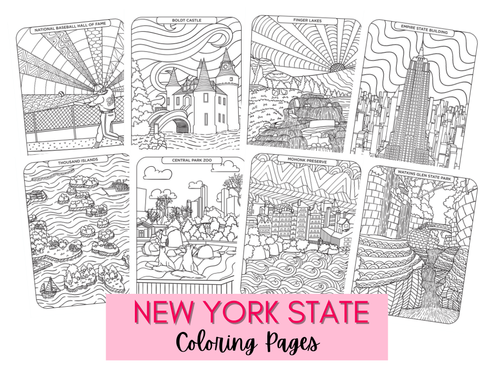 New York State Bucket List Coloring Pages