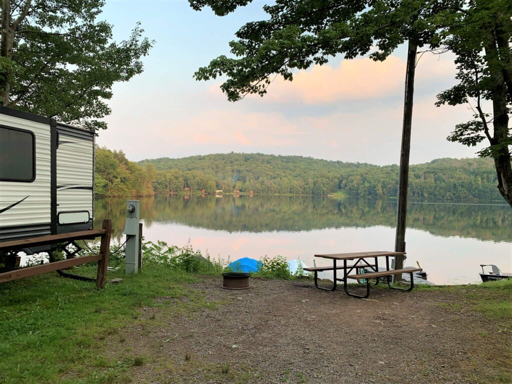 evening view from RV site on Keen Lake