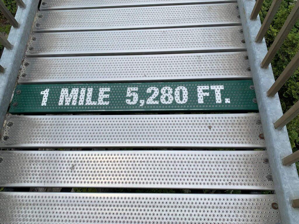 Halfway across The Swinging Bridge