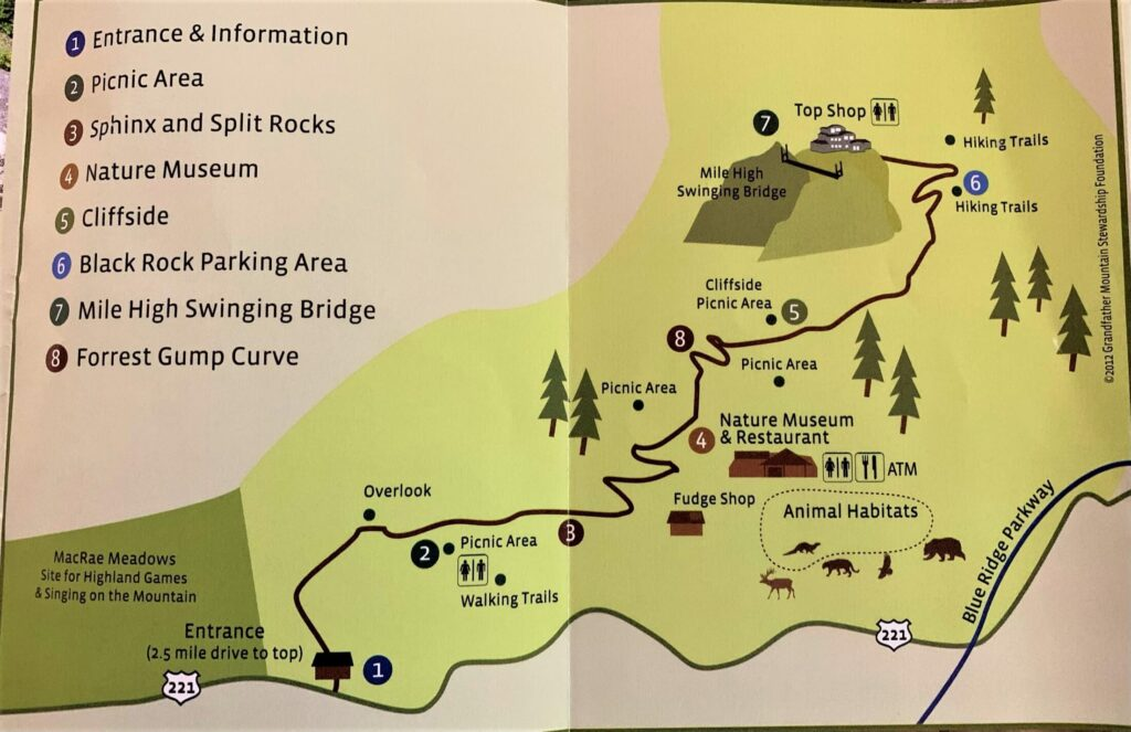 Map of Things To Do At Grandfather Mountain