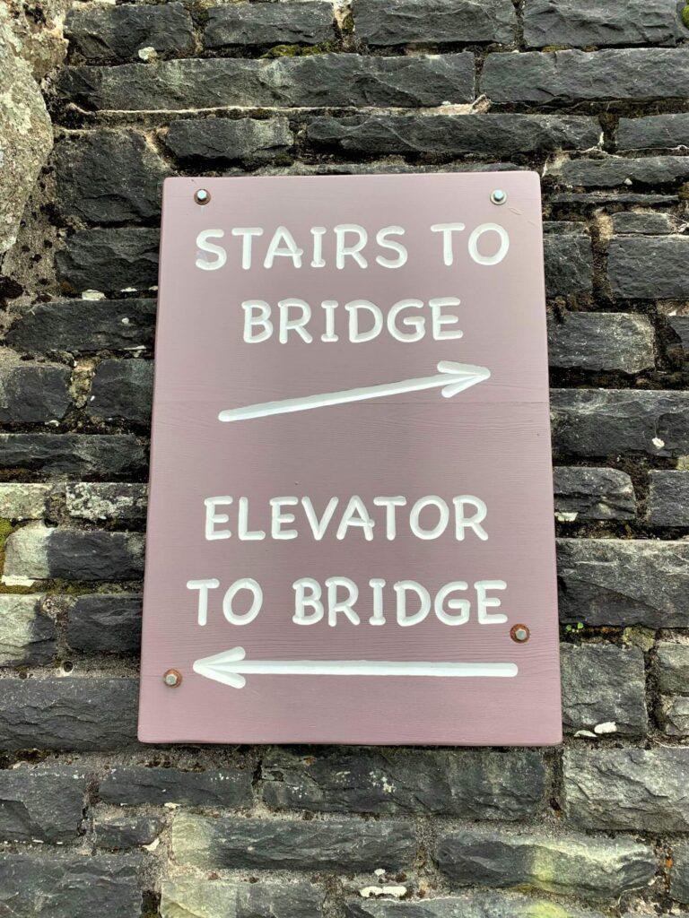 Stairs or Elevator to Swinging Bridge